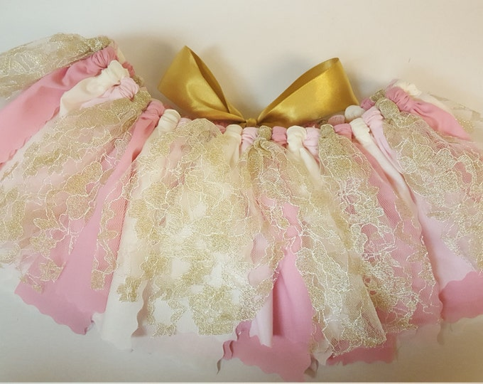 SPECIAL EDITION TUTU Unique Golden Lace Pink Princess Tutu Gold Flower Girl Skirt Pretty in Pink Birthday Outfit Fabric Lace Tutu sparkly