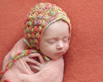 Newborn bonnet, Newborn props, Newborn Photo Prop, Newborn hat, Newborn photo bonnet, Colorful bonnet