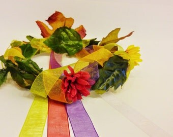 Toddler Flower Crown, Fairy Costume, 2 yo, Flower Headband, Floral Halo, Fall Leaf Crown, Hair Garland Kid, Woodland Fairy, Ribbon Crown