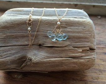 Aquamarine and Pearl 14k Gold Necklace