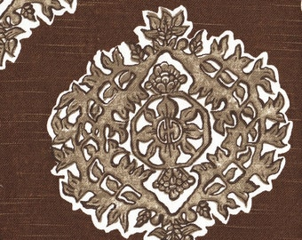 Rod-Pocket Curtain Panels Madras Cafe Brown Medallion