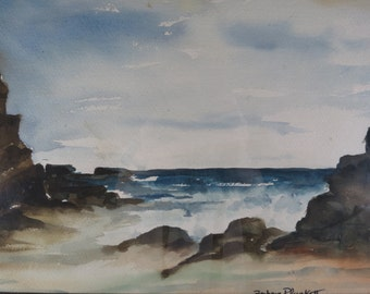 Vintage Seascape Watercolor