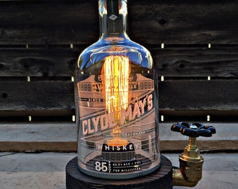 "Rustic Desk lamp ""Clyde"", Reclaimed wood light, Industrail table lamp"