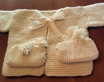 Knitted Baby Sweater and Booties - Ecru Color