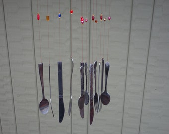 Silverware and Bead Wind Chime