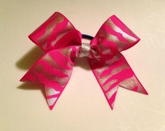 Zebra striped cheer bow