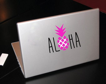 Pinapple Aloha / Laptop or DIY Vinyl Sticker Decal / Laptop Decal- Car Decal- Computer Decal- Sticker