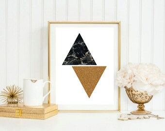 Geometric triangles of black marble & gold glitter effect. A4 or A3 glossy photo print. Desk poster, nursery wall decor, home decor, gift.