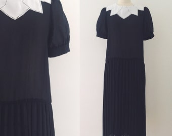 Vintage 1980's black drop waist dress