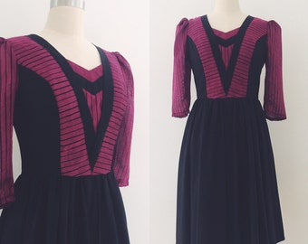 Vintage 80's Burgundy & Black Dress