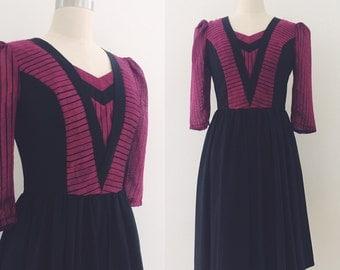 Vintage 80's Burgundy & Black Dress