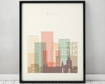 Oslo print, Poster, Wall art, Norway cityscape, Oslo skyline, City poster, Typography art, Gift, Home Decor, Fine art prints, ArtPrintsVicky