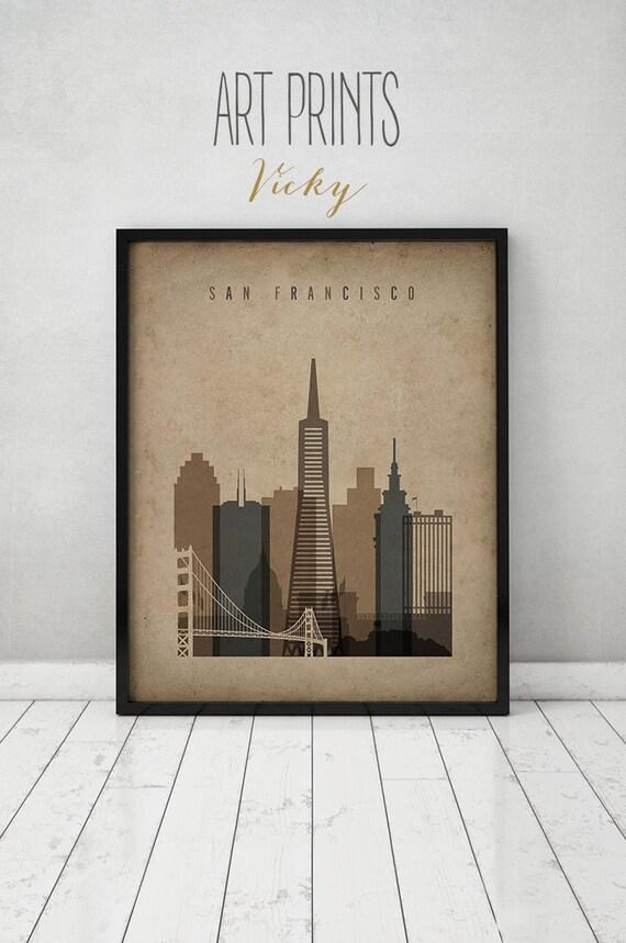 san francisco print poster wall art vintage style san. Black Bedroom Furniture Sets. Home Design Ideas