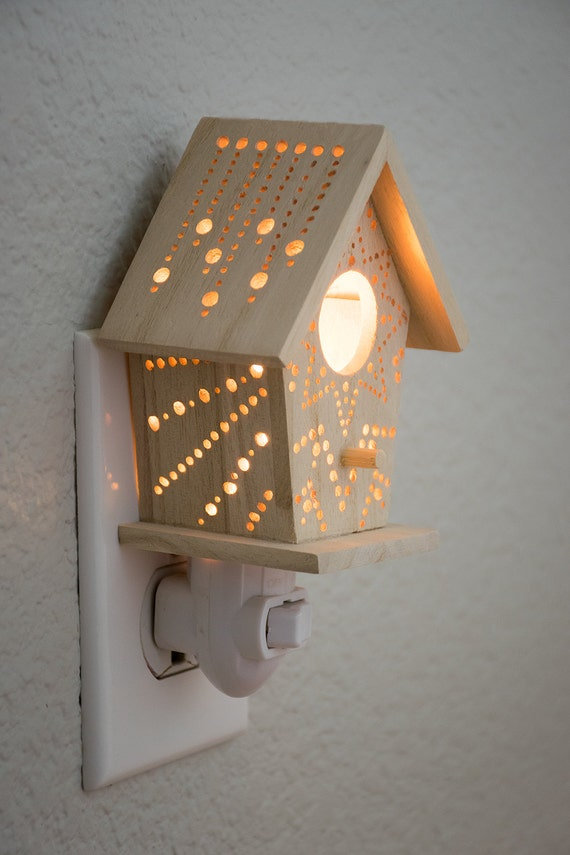Mini starburst wall plug birdhouse night light by lightingbysara - Birdhouse nightlight ...