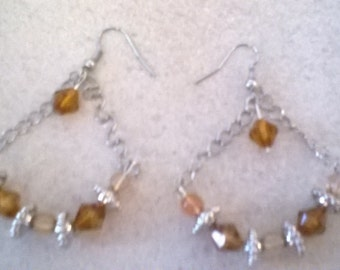 Brown and Silver Arch Earrings