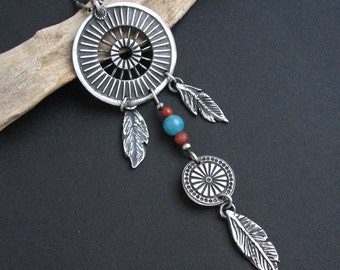 Silver Dreamcatcher - unique one of a kind pendant, silver artistic jewellery, talisman, boho style,handmade pendant, FREE SHIPPING