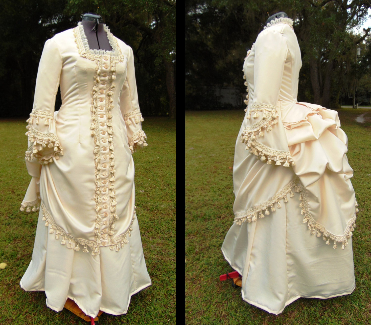 1870s Victorian Bustle Dress. Polonaise Style Gown. Hand Victorian Bustle Gowns