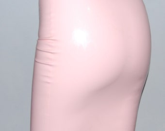 Baby Pink Latex Rubber Pencil Skirt