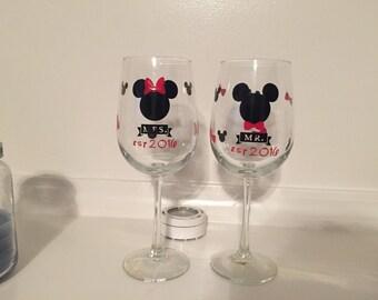 Mr and mrs disney wine glasses