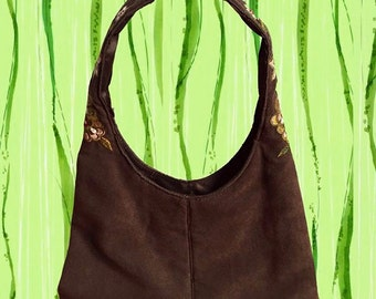 1990's Hippie Bag • Brown with Embroidered Flowers • Small Hobo Bag Style