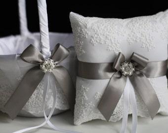 Gray Bearer Pillow & Lace Wedding Basket, off-white Gray wedding Flower Girl Basket + Ring Bearer Pillow, Gray Lace Bearer pillow basket set