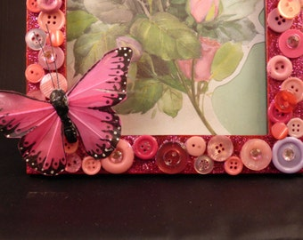 Pink Butterfly Button Painted Embellished 5 x 7 Picture Frame