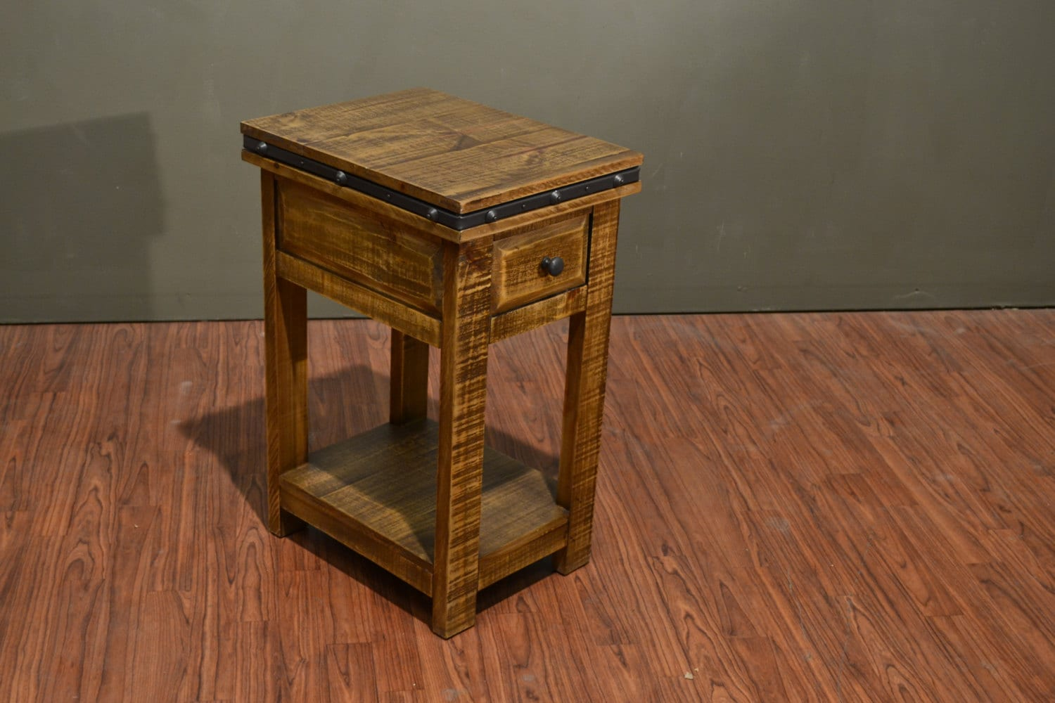 rustic solid wood narrow side table with drawer and bottom. Black Bedroom Furniture Sets. Home Design Ideas