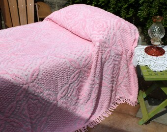Vintage Pink Cotton Chenille Bedspread, Full Size Cotton Chenille Blanket, Lightweight Chenille Bedspread, Twisted Cotton Fringe, 1960's