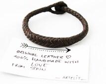 pulsera de cuero trenzada- pulsera hombre artesana hecha a mano con cuero de españa