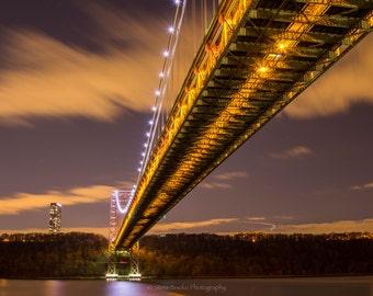 George Washington Bridge, fine art print, nyc, long exposure, night shot, New York, New Jersey, George Washington Bridge photo, wall art