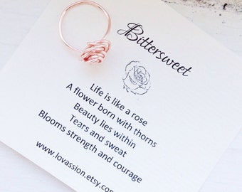 Rose Gold Ring, Rose ring, gold rose wire ring, rose wire ring, inspirational ring, statement ring,