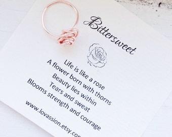 Rose Gold Rose Ring, rose ring, wire wrapped rose ring, rose gold ring, non-tarnish, 14k