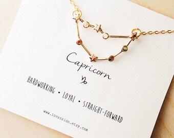 Capricorn Necklace, capricorn constellation necklace, gold capricorn necklace, constellation necklace, astrology necklace, 14k