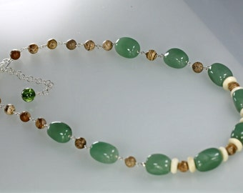 Green Aventurine, Picture Jasper and Bone Beads Beaded Necklace, Green Bead Statement Necklace