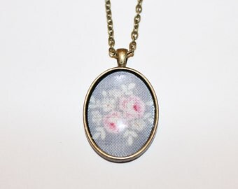 Handmade floral fabric antique bronze necklace