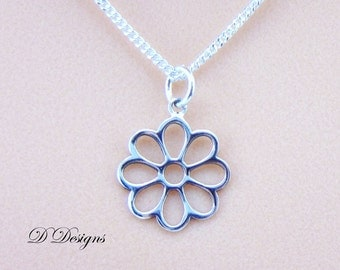 Flower Necklace, Flower Pendant, Sterling Silver Flower Pendant Necklace, Silver Necklace, Trendy Necklace, Valentines Day, Gifts for her