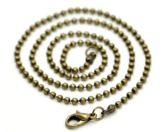 Ball chain 51 cm with lobster clasp bronze colors