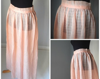 SALE 25% OFF!!! VTG Sheer Peach Colored Maxi Skirt