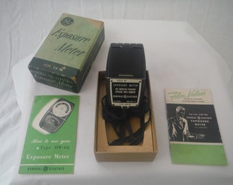 1950's GE Working Exposure Meter-Vintage-With Box-Collectible-Usable