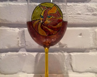 Handpainted Orange Kitty Wine Glass (1)