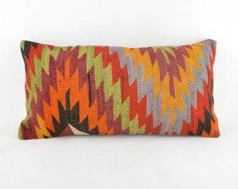 Kilim pillow 24x12 inc, kilim pillow cover, home decor, decorative throw pillow