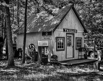 Old Gas Station Scene Photograph