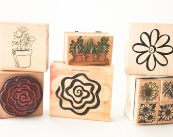 Flowers And Blooms Vintage Rubber Stamp Set Lot Of 10 ~ Sir Stampington ~ 161026A