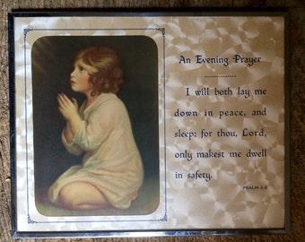 "Vintage ""An Evening Prayer"" Framed Litho Print"
