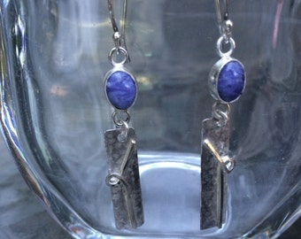 Sodalite and Sterling Silver Wire Drop Earrings