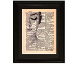 """Audrey"""".Dictionary Art Print. Vintage Upcycled Antique Book Page. Fits 8""""x10"""" frame"""