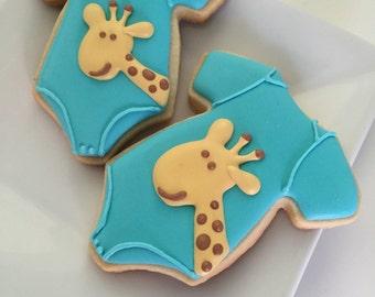 Giraffe Onesie Cookies Baby Shower Cookies