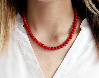 Custom Length Red Coral Necklace, Genuine Coral Jewelry, Beaded Statement Necklace, Sterling Silver or Magnetic Clasp, Mother's Day Gift