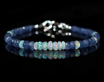 Amazing Sapphire & Opal Beaded Bracelet, Genuine Burmese Sapphire and AAA Ethiopian Fire Opal,Silver Jewelry,September October Birthstone