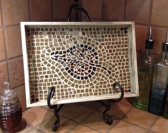 Tile Tray, Serving Tray, Mosaic Tray,  Mosaic Art, Wooden Tray